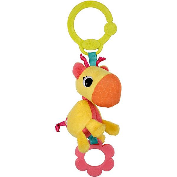 Развивающая игрушка Жираф, Bright StartsИгрушки для новорожденных<br>Развивающая игрушка Жираф Bright Starts (Брайт Старс) представляет собой яркого и симпатичного жирафика, который легко прикрепляется к автокреслу, коляске или кроватке. У игрушки есть приятная особенность, которая непременно приведет в восторг Вашего малыша: стоит потянуть за игрушку, и она начнет вибрировать. Жирафик выполнен в ярких тонах, у него симпатичная мордочка, снизу есть резиновое колечко, которое можно погрызть, сверху - удобное крепление в виде пластикового кольца. Игрушка развивает мелкую моторику и цветовосприятие, поэтому идеальна для новорожденных!<br><br>Дополнительная информация:<br><br>- Идеально подходит для новорожденных;<br>- Удобное универсальное крепление;<br>- Вибрирующий эффект, который так нравится малышам;<br>- Прорезыватель;<br>- Яркие цвета;<br>- Безопасные материалы;<br>- Материал: пластик, текстиль;<br>- Размер игрушки: 8 х 5 х 26 см;<br>- Размер упаковки: 9 х 5 х 30 см;<br>- Вес упаковки: 150 г<br><br>Развивающую игрушку  Жираф, Bright Starts (Брайт Старс)  можно купить в нашем интернет-магазине.<br>Ширина мм: 410; Глубина мм: 190; Высота мм: 250; Вес г: 200; Возраст от месяцев: 0; Возраст до месяцев: 24; Пол: Унисекс; Возраст: Детский; SKU: 3345331;