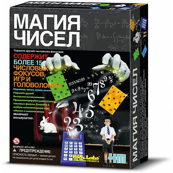 Магия чисел, 4MФокусы и розыгрыши<br>Научитесь читать чужие мысли, поразите друзей быстрыми вычислениями. Продемонстрируйте удивительные фокусы. Сыграйте в особую математическую игру Мемо c семьей и друзьями. В состав набора входят:<br>- 1 калькулятор,<br>- 2 игральных кубика,<br>- 1 комплект карт чтения мыслей,<br>- магический квадрат с обозначенными числами,<br>- 1 супер магический квадрат,<br>- 1 комплект карточек с числами,<br>- 40 математических Мемо карт,<br>- детали сборной головоломки,<br>- детали головоломки-перевертыша,<br>- лист бумаги с обозначенными линиями,<br>- подробные инструкции для постановки более 15 числовых фокусов, головоломок и игр.<br>Ширина мм: 215; Глубина мм: 170; Высота мм: 60; Вес г: 200; Возраст от месяцев: 84; Возраст до месяцев: 144; Пол: Унисекс; Возраст: Детский; SKU: 3360285;