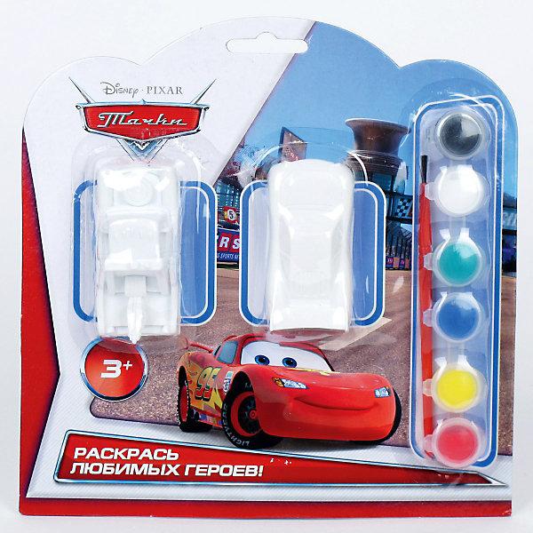 Набор-раскраска, Тачки,  2 фигуркиРаскраски для детей<br>Набор-раскраска, Тачки (Cars),  2 фигурки. <br>Станет прекрасным развивающим творческие способности Вашего малыша подарком. Понятная инструкция и полный комплект всего необходимого помогут Вашему юному мастеру создать настоящий шедевр! <br><br>Дополнительная информация:<br><br>В набор входит:<br> 2 фигурки из гипса, <br>кисточка и краски 6 цветов.<br><br>Надолго сохранит воспоминания о прекрасных минутах творчества!<br>Можно с легкостью приобрести в нашем интернет-магазине!<br>Ширина мм: 40; Глубина мм: 210; Высота мм: 210; Вес г: 180; Возраст от месяцев: 24; Возраст до месяцев: 84; Пол: Мужской; Возраст: Детский; SKU: 3361244;