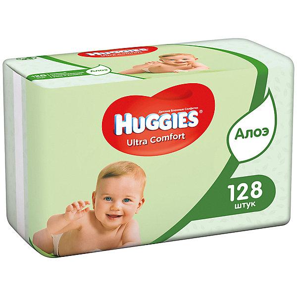 HUGGIES Детские влажные салфетки Huggies Ultra Comfort с Алоэ 2х64, 128 шт.