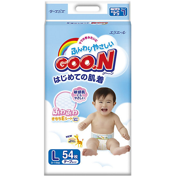 Goon Подгузники Goon, L 9-14 кг, 54 шт. подгузники goon s 4 8 кг 84шт