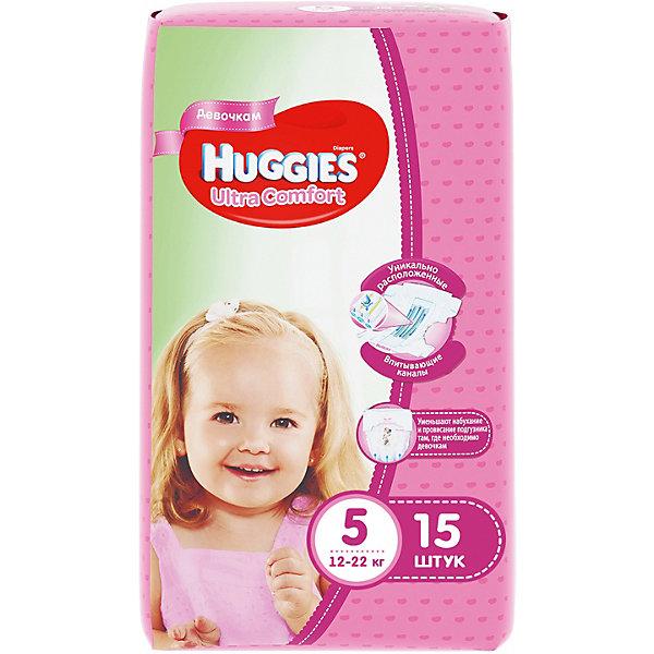 Подгузники Huggies Ultra Comfort 5 для девочек, 12-22 кг, 15 шт.Подгузники классические<br>С первых дней жизни мальчики и девочки такие разные.<br><br>Новые подгузники Huggies Ultra Comfort созданы специально для мальчиков и специально для девочек. Для лучшего впитывания распределяющий слой в этих подгузниках расположен там, где это нужнее всего: по центру для девочек и выше для мальчиков. Huggies Ultra Comfort изготовлены из мягких материалов с микропорами, которые позволяют коже «дышать». Специальные тянущиеся застежки с закругленными краями надежно фиксируют подгузник, а широкий суперэластичный поясок позволяет малышам свободно двигаться.<br><br>Ключевые преимущества новых Huggies Ultra Comfort:<br><br>- Широкий суперэластичный поясок помогает надежно фиксировать подгузник по спинке малыша и защищать кожу от натирания<br>- Анатомическая форма. Изогнутые резиночки повторяют анатомическую форму подгузника, помогая защитить от натирания между ножками <br>- Ультра мягкий внутренний слой по всей длине подгузника оберегает кожу малыша.<br>- Специально разработанный слой Dry Touch впитывает за секунды и помогает запереть влагу внутри.<br>- Яркие эксклюзивные подгузники c дизайном от Disney подчеркивают индивидуальность маленьких модников и модниц.<br><br>Huggies Ultra Comfort для мальчиков и для девочек — потому что они такие разные.<br><br>Дополнительная информация:<br><br>Для девочек.<br>Размер: 5, для малышей от 12 до 22 кг.<br>В упаковке: 15 шт.<br><br>Подгузники Huggies Ultra Comfort для девочек (5) 12-22 кг, 15 шт. можно купить в нашем интернет-магазине.<br>Ширина мм: 240; Глубина мм: 150; Высота мм: 107; Вес г: 630; Возраст от месяцев: 12; Возраст до месяцев: 84; Пол: Женский; Возраст: Детский; SKU: 3389824;