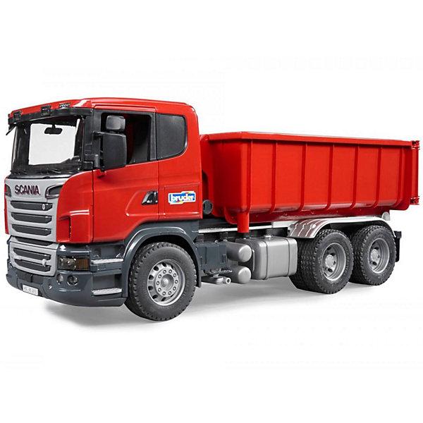 Самосвал-контейнеровоз Scania, BruderМашинки<br>Самосвал-контейнеровоз Scania, Bruder (Брудер) - это качественная детализированная игрушка с подвижными элементами.<br>Мощный самосвал-контейнеровоз Scania на трехосной платформе от немецкого производителя игрушек Bruder (Брудер) в точности повторяет реально существующую машину. Все детали игрушки выполнены с максимальной точностью и подробной детализацией. У машины открываются двери, складываются зеркала, откидывается кабина, открывая доступ к двигателю. Лобовое стекло машины изготовлено из прозрачного пластика. Внутри кабины все как в настоящей машине: сидение водителя, декоративная панель управления, крутящийся руль. Контейнер съемный. Для того чтобы снять или установить контейнер, на раме предусмотрен специальный механизм (мультилифт). Задний борт контейнера открывается. К модели можно подсоединить модуль, включающий световое сопровождение и звук мотора, который приобретается отдельно. Игрушка изготовлена из высококачественного пластика, устойчивого к износу и ударам. Продукция сертифицирована, экологически безопасна для ребенка, использованные красители не токсичны и гипоаллергенны.<br><br>Дополнительная информация:<br><br>- Размер машины: 53,5 х 18,8 х 20,5 см.<br>- Масштаб 1:16<br>- Материал: высококачественный пластик<br>- Цвет: красный<br><br>Самосвал-контейнеровоз Scania, Bruder (Брудер) можно купить в нашем интернет-магазине.<br>Ширина мм: 588; Глубина мм: 238; Высота мм: 200; Вес г: 2320; Возраст от месяцев: 36; Возраст до месяцев: 96; Пол: Мужской; Возраст: Детский; SKU: 3400366;