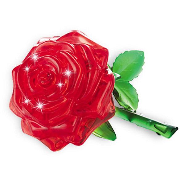 Кристаллический пазл 3D Роза L, CreativeStudioКристаллические пазлы<br>Кристаллический пазл 3D Роза L, Creative Studio (Креатив Студио)- это головоломка  одна из самых сложных в серии Кристальные объемные пазлы, но и самая эффектная в собранном виде. Пурпурная прозрачная роза на зеленом стебле с листиками будет оригинальным украшением интерьера. Детали пазла выполнены из полупрозрачного пластика высокого качества. Они соединяются между собой без клея и образуют объемную фигуру, которую в дальнейшем можно использовать как украшение интерьера или в качестве сувенира. Для сборки модели надо разместить детали пазла в правильной последовательности. Когда фигура собрана, в нее нужно вставить фиксирующий элемент, который придаст ей прочности.<br>Процедура сборки может быть растянута от нескольких часов до нескольких дней, если не смотреть в инструкцию-подсказку (прилагается в наборе) и не обращать внимания на цифры с обратной стороны кусочков мозаики - это порядок сборки. Игра рассчитана на абсолютно разную возрастную аудиторию, поскольку требует усидчивости и терпения при подгонке деталей, плоских и сужающихся в местах стыковок. Все детали хорошо отполированы, блестят, без острых краев и трещин. Собранная своими руками игрушка будет для ребенка гораздо дороже, чем готовая ведь он вложил в нее свой драгоценный труд. Сборные модели и игрушки уникальны и отвечают потребностям самых разных возрастных групп, дарят людям радость творчества.<br><br>Дополнительная информация:<br><br>- Набор состоит из 44 или 21 детали и инструкции;<br>- Детали крепятся друг к другу без клея;<br>- Уровень сложности: 3;<br>- Обучающая, яркая и реалистичная модель;<br>- Идеально и легко собирается без инструментов;<br>- Увлекательный игровой процесс;<br>- Собранный 3D пазл можно использовать как обычную игрушку, как украшение комнаты или рабочего места;<br>- Материал: пластик;<br>- Размер упаковки: 4 х 14 х 9 см;<br>- Вес : 138 г  <br><br>ВНИМАНИЕ: Данный артикул представлен в разных вариантах испол