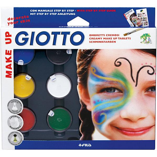 Картинка для Грим-краски на восковой основе в баночках 5 цв*5 мл, белый цвет*10мл, с кистью и спонжем.