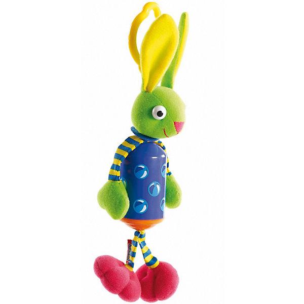 Развивающая игрушка Зайчик-колокольчик, Tiny LoveИгрушки для новорожденных<br>Развивающая игрушка Зайчик-колокольчик, Tiny Love (Тини Лав)<br><br>Подвесная игрушка зайчик-колокольчик Бани обязательно понравятся малышу. Тело игрушки выполнено в ярких тонах  является ветряным колокольчиком. Мордочка  ручки и ножки игрушки сделаны из приятных текстильных материалов различной фактуры, кроме того в игрушке  спрятаны «хрустелки» столь любимые малышами. <br> При малейшем колебании колокольчик издает не громкий мелодичный звук. <br><br>Дополнительно:<br>- Размер игрушки: 27*10*7 см. <br>- Упаковка товара - Открытая игрушка на фирменном блистере <br>- Материал: фарфоровый пластик<br><br>Развивающую игрушку Зайчик-колокольчик, Tiny Love (Тини Лав) можно купить в нашем интернет – магазине.<br>Ширина мм: 70; Глубина мм: 340; Высота мм: 130; Вес г: 153; Возраст от месяцев: 0; Возраст до месяцев: 24; Пол: Унисекс; Возраст: Детский; SKU: 3421208;