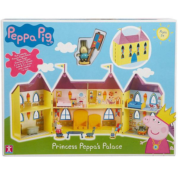 Игровой набор Замок Пеппы, Свинка ПеппаИгрушки<br>Игровой набор Замок Пеппы, Свинка Пеппа<br><br>Коллекция игрушек Peppa Pig создана на основе мультипликационного фильма про веселые приключения Свинки  Пеппы и ее семьи и друзей.<br><br>В наборе: раскрывающийся домик с банкетным и тронным залами, мебель (трон, кровати, ванна, очаг, стулья, стол), фигурка Пеппы,  1 стражник. <br>Упаковка - коробка.<br><br>Игровой набор Замок Пеппы, Свинка Пеппа можно купить в нашем интернет - магазине.<br>Ширина мм: 265; Глубина мм: 340; Высота мм: 290; Вес г: 625; Возраст от месяцев: 36; Возраст до месяцев: 72; Пол: Женский; Возраст: Детский; SKU: 3458424;