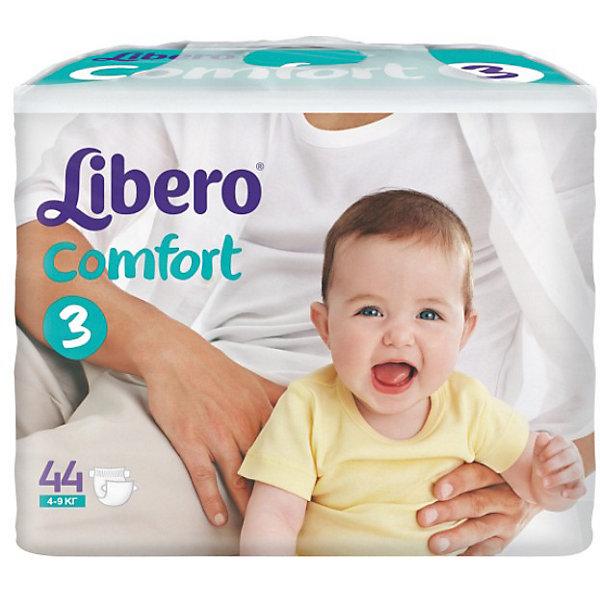 Подгузники Libero Comfort, Midi 4-9 кг (3), 44 шт.Подгузники классические<br>Характеристики:<br><br>• вес ребёнка: 4-9кг.;<br>• дышащий материал быстро впитывает влагу;<br>• эластичный пояс;<br>• идеально подходят для тонкой и чувствительной кожи малыша;<br>• поверхность подгузников содержит микроскопические отверстия для циркуляции воздуха;<br>• эластичный поясок сзади;<br>• многоразовые застежки-липучки;<br>• вес упаковки: 1,425кг;<br>• упаковка: пакет;<br>• размер упаковки: 11.5х28.5х20.5см.;<br>• количество в упаковке: 44шт.;<br>• для детей в возрасте: с рождения;<br>• страна бренда: Швеция.<br><br>Подгузники «Libero Comfort» (Либеро Комфорт) Midi (Миди) станут отличным приобретением для самых маленьких детишек. Они созданы из высококачественных, экологически чистых материалов, что очень важно для детских товаров.<br><br> В удобных подгузниках с двумя видами привлекательных рисунков малыш будет сухо и комфортно себя чувствовать, особенно во время сна и долгих прогулок. Дышащий нетканый материал быстро впитывает влагу с помощью специальных гранул и специально создан для нежной кожи. Индикатор влаги меняет цвет по мере наполнения. Трусики плотно прилегают с помощью эластичного пояска.                         <br>                       <br>Используя памперсы « Libero»(Либеро) мамы подарят малышам уют и спокойствие на долгое время.<br><br>Подгузники «Libero Comfort» (Либеро Комфорт) Midi (Миди) можно купить в нашем интернет-магазине.<br>Ширина мм: 115; Глубина мм: 285; Высота мм: 205; Вес г: 1425; Возраст от месяцев: 0; Возраст до месяцев: 9; Пол: Унисекс; Возраст: Детский; SKU: 3517615;
