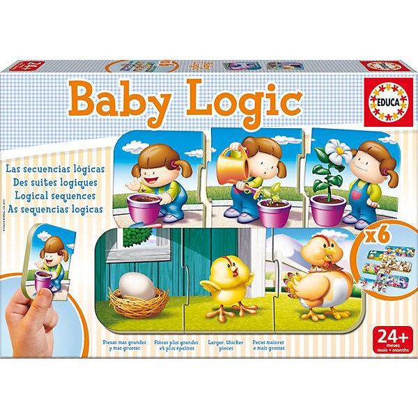 Игра-пазл Логика, EducaПазлы для малышей<br>Игра-пазл Логика, Educa<br><br>Характеристики:<br><br>• В набор входит: 6 пазлов по 3 детали<br>• Количество деталей: 12 шт.<br>• Размер упаковки: 31 * 4,5 * 21 см.<br>• Состав: картон<br>• Вес: 700 г.<br>• Для детей в возрасте: от 2 до 4 лет<br>• Страна производитель: Испания<br><br>Крупные детали пазла отлично собираются, ребёнок сможет обучаться основам логики, подбирая детали по ситуациям. Шесть логически последовательных историй, таких как вылупление птенца, рост растения, появление радуги и не только, представлены в этом наборе. Собирая пазл можно расширить кругозор и воображение малыша.<br><br>Игру-пазл Логика, Educa можно купить в нашем интернет-магазине.<br>Ширина мм: 317; Глубина мм: 223; Высота мм: 48; Вес г: 645; Возраст от месяцев: 24; Возраст до месяцев: 48; Пол: Унисекс; Возраст: Детский; Количество деталей: 3; SKU: 3546200;