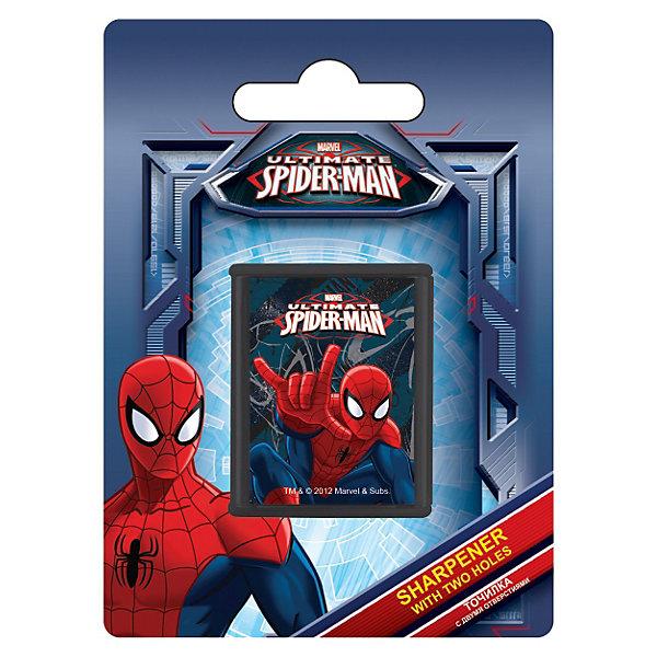 Точилка с двумя отверстиями, Человек-ПаукЛастики и точилки<br>Точилка с двумя отверстиями, 1шт.  с изображением Spider Man станет прекрасным помощником Вашему  мальчику в школе! <br><br>Дополнительная информация:<br> <br>- размер 11х 8 х 2,5 см.<br> <br>Карандаши Вашего мальчика всегда будут готовы к работе!<br><br>Точилку с двумя отверстиями, Человек-паук можно купить в нашем магазине.<br>Ширина мм: 110; Глубина мм: 80; Высота мм: 25; Вес г: 21; Возраст от месяцев: 48; Возраст до месяцев: 84; Пол: Мужской; Возраст: Детский; SKU: 3562997;
