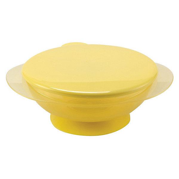 кружка на присоске happy baby baby cup with suction base 15022 red Happy Baby Тарелка на присоске с крышкой EAT & CARRY, Happy Baby, жёлтый