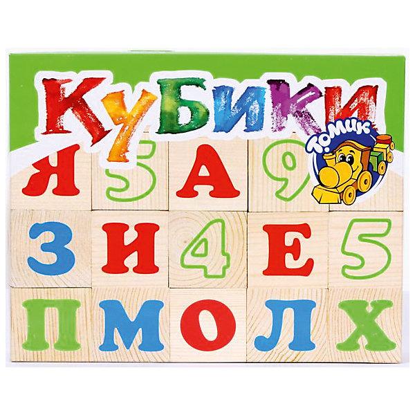 Томик Деревянные кубики Алфавит с цифрами 20 шт