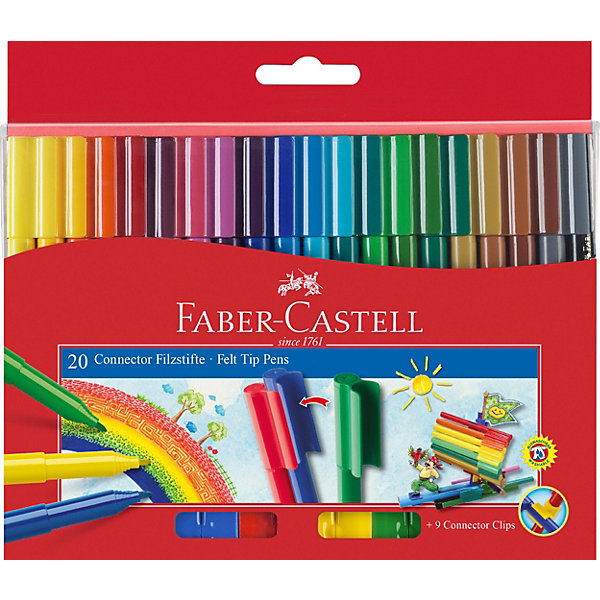 фломастеры faber castell connector 60цв смываемые соединяемые колпачки пластик уп европодв Faber-Castell Фломастеры Faber-Castell Connector, 20 цветов, смываемые