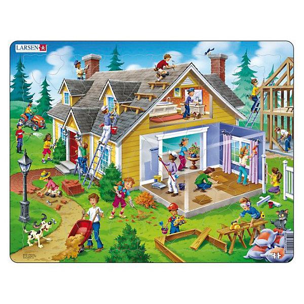 Пазл Дом,  Larsen, 62 деталиПазлы для малышей<br>Пазл Дом,  Larsen, 62 детали - это яркий и красивый пазл. На живописном участке изображен ярко-желтый деревянный дом с черепичной крышей. На пазле изображена внешняя часть дома и внутренняя. В процессе сборки пазла взрослые могут называть все составные части дома: стены, крыша, дверь, окна, чердак, труба, цветы. Можно акцентировать внимание на действиях людей, производящих строительные работы: красит стены, кладет паркет, кладет тротуарную плитку, подметает, поднимается по лестнице, вешает занавески и так далее. Изготовлен пазл из плотного трехслойного картона, имеет специальную подложку и рамку, которые облегчают процесс сборки. Принцип сборки пазла заключается в использовании принципа совместимости изображений и контуров пазла. Если малыш не сможет совместить детали пазла по рисунку, он сделает это по контуру пазла, вставив его в подложку как вкладыш. Высокое качество материала и печати не допускают износа, расслаивания, деформации деталей и стирания рисунка. Многообразие форм и разные размеры деталей пазла развивают мелкую моторику пальцев. Занятия по сборке пазла развивают образное и логическое мышление, пространственное воображение, память, внимание, усидчивость, координацию движений.<br><br>Дополнительная информация:<br><br>- Количество элементов: 62 детали<br>- Материал: плотный трехслойный картон<br>- Размер пазла: 36,5 x 28,5 см.<br><br>Пазл Дом,  Larsen (Ларсен), 62 детали можно купить в нашем интернет-магазине.<br>Ширина мм: 360; Глубина мм: 360; Высота мм: 280; Вес г: 100; Возраст от месяцев: 36; Возраст до месяцев: 60; Пол: Унисекс; Возраст: Детский; Количество деталей: 62; SKU: 3610584;