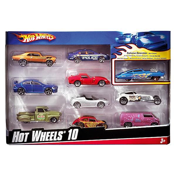 Фотография товара набор из 10 машинок, металл, Hot Wheels (3620617)