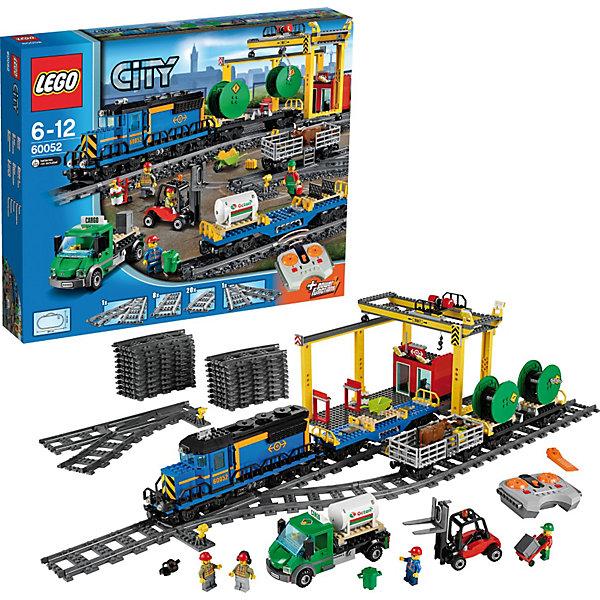 LEGO City 60052: Грузовой поездПластмассовые конструкторы<br>Характеристики:<br><br>• Предназначение: набор для конструирования, сюжетно-ролевые игры<br>• Пол: для мальчиков<br>• Материал: пластик<br>• Цвет: серый, белый, оранжевый, бордовый, зеленый<br>• Серия LEGO: City<br>• Размер упаковки (Д*Ш*В): 58,2*9,1*48 см<br>• Вес: 2 кг 900 г<br>• Количество деталей: 888 шт.<br>• Наличие дистанционного управления<br>• Комплектация: рельсы, локомотив, вагончики, погрузчик, 4 мини-фигурки, аксессуары<br>• Батарейки: 9 шт. типа ААА (в комплекте не предусмотрены)<br><br>LEGO City 60052: Грузовой поезд – набор от всемирно известного производителя конструкторов для детей всех возрастных категорий. LEGO City 60051: Скоростной пассажирский поезд является базовым набором серии City. Набор включает в себя рельсы для железной дороги, грузовые вагончики и локомотив, 4 мини-фигурки, детали для железно-дорожной погрузочной платформы, погрузчик и др. Поезд управляется с помощью пульта дистанционного управления. Он имеет 7 скоростей движения. В комплекте предусмотрена яркая инструкция, которая научит вашего ребенка действовать по образцу. <br>Игры с конструкторами LEGO развивают усидчивость, внимательность, мелкую моторику рук, способствуют формированию конструкторского мышления. С набором LEGO City 60052: Грузовой поезд ваш ребенок сможет придумывать целые сюжетные истории, развивая тем самым воображение и обогащая свой словарный запас. <br><br>LEGO City 60052: Грузовой поезд можно купить в нашем интернет-магазине.<br>Ширина мм: 584; Глубина мм: 472; Высота мм: 121; Вес г: 2939; Возраст от месяцев: 60; Возраст до месяцев: 144; Пол: Мужской; Возраст: Детский; SKU: 3623203;