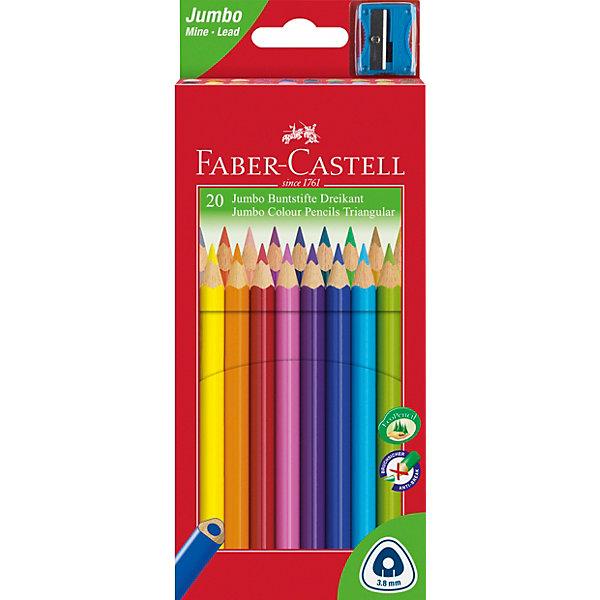 Faber-Castell Карандаши цветные Faber-Castell Jumbo, 20 цветов, с точилкой