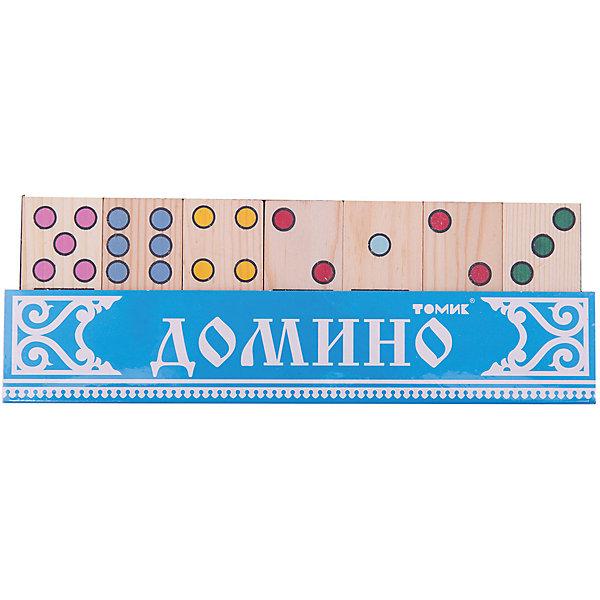 Домино Точки, ТомикОбучающие игры<br>Домино Точки, Томик - это увлекательная логическая игра для детей.<br>Домино «Точки» от компании Томик предназначено для детей, которые уже знакомы с цифрами и счетом. На каждой плашке нарисованы разноцветные точки. В помощь детям, каждая группа точек раскрашена в свой цвет, что станет своеобразной подсказкой на первоначальном этапе обучения. Каждая плашка разделена пополам линией.<br>Правила игры в домино просты — 28 плашек из набора домино распределяются между двумя или четырьмя игроками. На каждой половине плашки изображено разное количество точек. Одинаковое количество точек по обеим сторонам линии образуют дубль. Первый ход принадлежит тому, у кого выпало два нуля или две шестёрки или тот, у кого больше дублей. Последующие игроки в установленной очерёдности приставляют плашку с тем же количеством точек с любой стороны. Если у игрока нет нужной плашки, он пропускает ход. Побеждает тот, кто первым остаётся без плашек. Если на стол выкладывать нечего, а у каждого игрока на руках остаются плашки, — такая ситуация называется «рыбой». При этом выигрывает тот, у кого наименьшая сумма на плашках или наименьшее их количество. <br><br>Если же малыш пока не может разобраться в правилах, ему наверняка будет интересно раскладывать, изучать и изучать картинки с изображением разноцветных точек, искать одинаковые, пытаться правильно посчитать или просто построить что-нибудь из деталей домино. Деревянные плашки не содержат токсичных пропиток и сертифицированы для детских игр, а нанесённые способом шелкографии рисунки — надёжны и долговечны. <br><br>Дополнительная информация:<br><br>- Количество деталей: 28<br>- Размер одной плашки: 7 х 3 х 1 см.<br>- Размер коробки: 22 х 8 х 4 см.<br>- Вес: 0,341 кг.<br><br>Домино Точки, Томик - объединит за одним большим столом всю семью.<br><br>Домино Точки, Томик можно купить в нашем интернет-магазине.<br>Ширина мм: 220; Глубина мм: 80; Высота мм: 40; Вес г: 400; Возраст от месяцев: 36; Возраст до месяцев