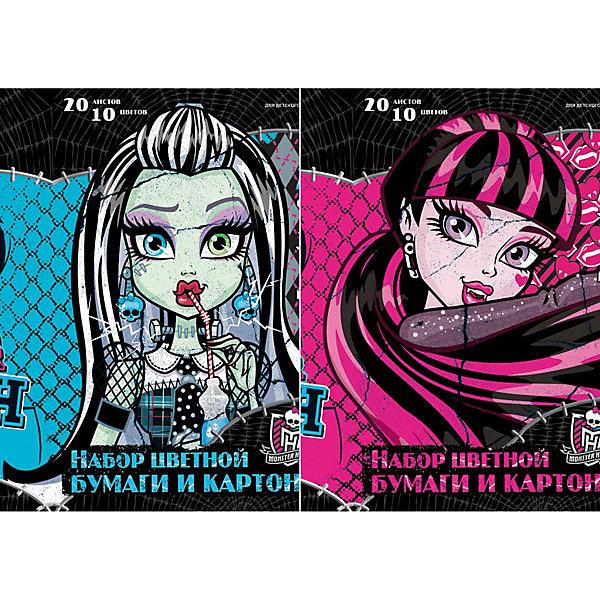 Академия групп Бумага и картон цветные, 20 листов, 10 цветов, Monster High centrum карандаши цветные monster high