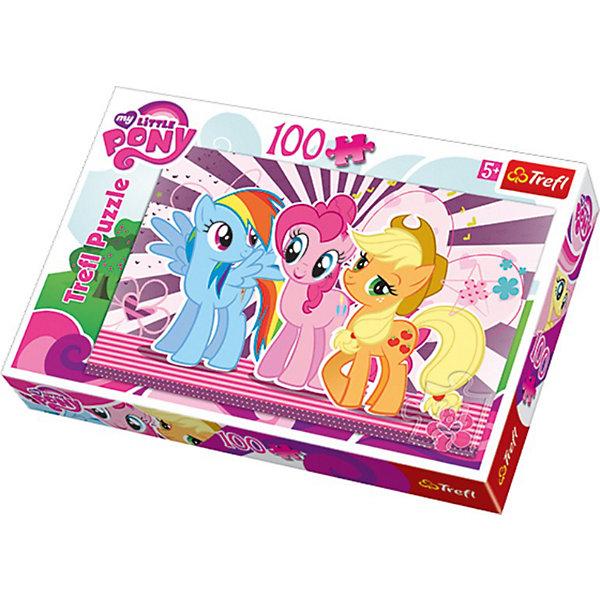 Пазл My little Pony, 100 деталей, TreflMy little Pony<br>Детский пазл — это отличная развивающая игра, способствующая улучшению логических навыков, мелкой моторики, фантазии и воображения. <br>Красочная картинка с любимыми яркими лошадками из серии My Little Pony (Моя маленькая Пони) придется по душе всем девочкам. Складывание пазла развивает усидчивость и внимательность, а готовую картинку можно повесить на стену детской комнаты, наслаждаясь собранным своими руками изображением. <br>Приятные на ощупь детали имеют крепкую сцепку, поэтому ваш ребенок будет в восторге от этого пазла!<br><br>Дополнительная информация:<br><br>Количество деталей: 100<br>Размер готового изображения: 41 х 28 см.<br><br>Пазл My Little Pony (Моя маленькая Пони), 100 деталей, Trefl  можно купить в нашем магазине.<br>Ширина мм: 294; Глубина мм: 205; Высота мм: 43; Вес г: 329; Возраст от месяцев: 72; Возраст до месяцев: 96; Пол: Женский; Возраст: Детский; Количество деталей: 100; SKU: 3705640;