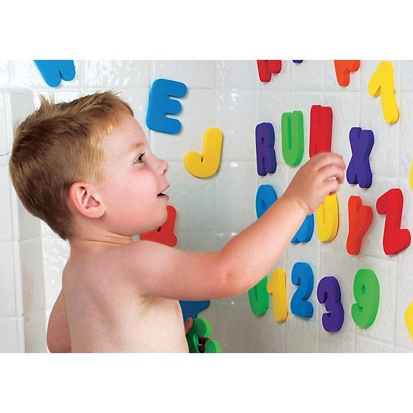 Игрушка для ванной Буквы и Цифры от 24мес, MunchkinИгрушки для ванной<br>Дети любят учиться везде ... так почему бы не в ванной? ·Плавающие разноцветные буквы и цифры обеспечивают безграничные возможности для увлекательной игры, во время которой запоминание букв и цифр происходит незаметно и без усилий. Когда буквы и цифры влажные, их можно прилепить на стену ванной, чтобы составлять из них различные слова и числа.<br>Буквы и цифры изготовлены из легкой, мягкой и прочной нетоксичной пены. Ими можно играть, бросать в воду, складывать - все, что угодно!<br><br>Дополнительная информация:<br><br>- материал: пена<br>- размеры: 8 х 5,5 х 1 см<br>- в комплекте: 26 букв, 10 чисел<br><br>Игрушку для ванной Буквы и Цифры от 24мес, Munchkin можно купить в нашем магазине.<br>Ширина мм: 56; Глубина мм: 200; Высота мм: 254; Вес г: 294; Возраст от месяцев: 12; Возраст до месяцев: 48; Пол: Унисекс; Возраст: Детский; SKU: 3717330;