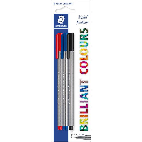Staedtler Капиллярная ручка Triplus Liner, синий, черный, красный, Staedtler