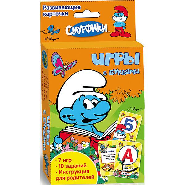 Развивающие карточки Игры с буквами, СмурфикиСмурфики Книги и мультимедиа<br>Развивающие карточки Игры с буквами, Смурфики от Росмэн - это увлекательный игровой набор, который развлечет ребенка и в веселой игровой форме поможет ему изучить буквы и слоги. В комплект входит 36 красочных карточек из плотного картона со скругленными углами. На одной стороне карточек - яркие картинки с изображениями букв и любимых персонажей мультфильма Смурфики (The Smurfs), на другой стороне различные игры, задания и инструкции для родителей.<br><br>Красочные картинки и увлекательные задания помогут малышу быстро освоить буквы и слоги. Карточки удобно брать с собой в длительные поездки и путешествия. Игровой набор способствует развитию творческих способностей, воображения, мышления и памяти. <br><br>Дополнительная информация:<br><br>- Материал: картон.<br>- Иллюстрации: цветные.<br>- Объем: 36 карточек.<br>- Размер упаковки: 13 х 9,2 х 2,2 см.<br>- Вес: 140 гр.<br><br>Развивающие карточки Игры с буквами, Смурфики, Росмэн можно купить в нашем интернет-магазине.<br>Ширина мм: 130; Глубина мм: 92; Высота мм: 22; Вес г: 140; Возраст от месяцев: 60; Возраст до месяцев: 84; Пол: Унисекс; Возраст: Детский; SKU: 3750409;