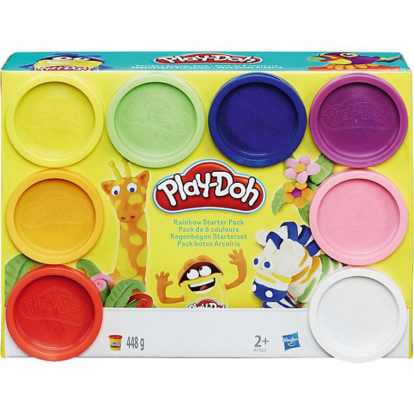 Набор пластилина Play-Doh, 8 банокНаборы для лепки игровые<br>Характеристики:<br><br>• возраст: от 2 лет;<br>• материал: пластилин;<br>• комплектация: 8 баночек с пластилином;<br>• размер: 6x22x16 см;<br>• вес: 448 гр;<br> • бренд: Hasbro.<br><br>Набор «8 банок пластилина», Play-Doh, придуманный американской компанией Hasbro, не зря называют волшебным! Он не липнет к рукам и рабочим поверхностям, поэтому работать с ним – одно удовольствие. Кроме того, он не токсичен и абсолютно безопасен для здоровья даже при проглатывании, поэтому его можно использовать даже при игре с самыми юными скульпторами. На воздухе пластилин быстро высыхает, а значит, поделки из него отличаются высокой прочностью. Если вы хотите, чтобы пластилиновая масса вновь стала мягкой, просто добавьте туда немного чистой воды.