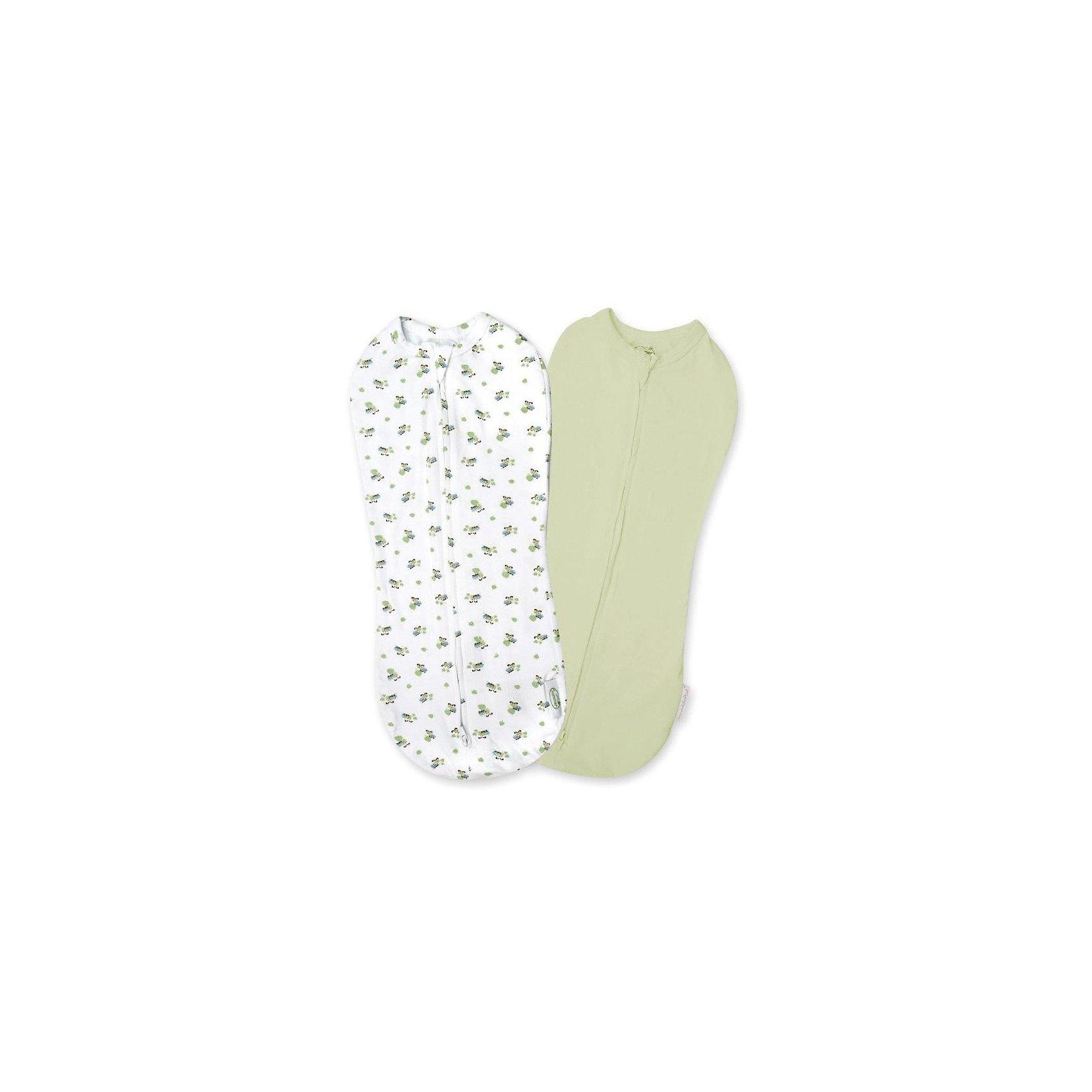 Конверт для пеленания на молнии, SWADDLEPOD, р-р S, 2 шт., 2-4,5 кг., белый/зеленый