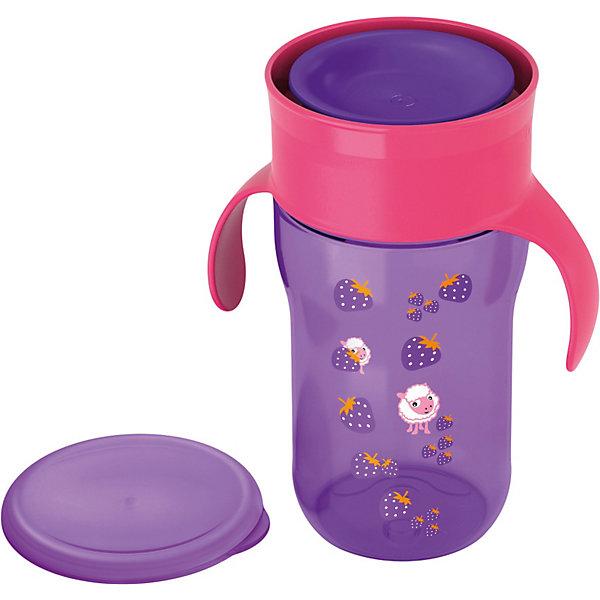 Чашка-поильник, Philips Avent, 340мл., сиреневыйПоильники<br>Чашка-поильник Philips-Avent (Авент) идеально подойдет для малышей, которые учатся пить из чашки и уже могут самостоятельно держать кружку в руках. Из поильника можно пить как из стандартной взрослой чашки по всему краю, без носика и трубочки. Чашка оснащена специальным клапаном, который открывается при прикосновении губ ребенка, обеспечивает быстрый поток жидкости и предотвращает протекание и проливание. Ребенку приходится прилагать меньше усилий, что делает кормление более комфортным.<br><br>Обучающие ручки приучают малыша держать чашку и пить без посторонней помощи. Защитная гигиеническая крышка предохранит чашку от загрязнений и сохранит в чистоте во время прогулок и дома. Чашка имеет яркий, привлекательный для малыша дизайн с забавными рисунками. Можно стерилизовать и мыть в посудомоечной машине.<br><br>Дополнительная информация:<br><br>- Цвет: сиреневый.<br>- Материал: пластик.<br>- Объем: 340 мл.<br>- Возраст: от 18 мес.<br>- Размер: 9 х 11,6 х 19 см.<br>- Вес: 180 гр.