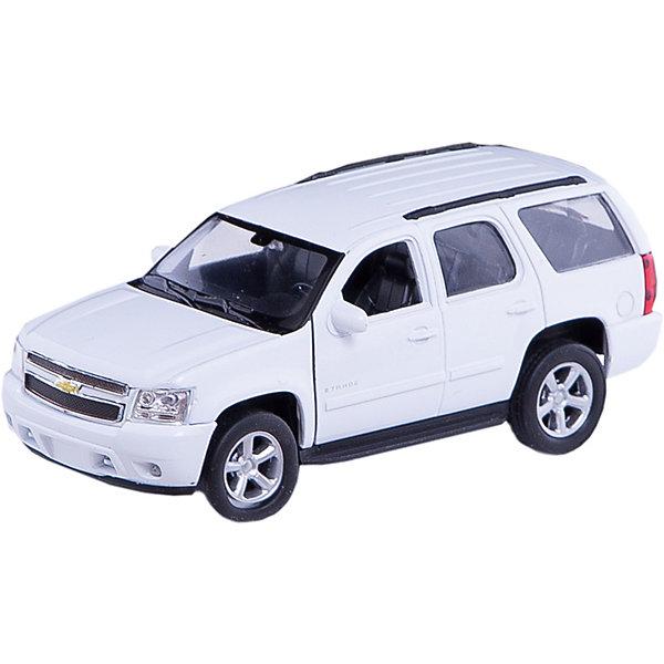 Модель машины 1:34-39 Chevrolet Tahoe, Welly, белаяМашинки<br>Модель машины Chevrolet Tahoe, Welly (Велли) станет замечательным подарком для автолюбителей и коллекционеров всех возрастов. В коллекции масштабных моделей Welly представлено все многообразие автотехники: ретро-автомобили, легковые автомобили различных марок, грузовики, автомобили городских служб и многое другое. Все машинки отличаются высокой степенью детализации и тщательной проработкой всех элементов.<br><br>Машинка Chevrolet Tahoe представляет собой точную копию настоящего автомобиля в масштабе 1:34-39. Внедорожник Шевроле Тахо выпускается с 1995 года, это большой, надежный, мощный, комфортабельный автомобиль, сочетающий в себе современные технологии и традиции легендарного внедорожника. Модель от Welly оснащена прочным лобовым стеклом, интерьер салона и органы управления тщательно проработаны. Передние двери открываются. Автомобиль снабжен инерционным механизмом, ускоряется при толчке.<br>Корпус машинки выполнен из металла, а отделка салона и декоративные элементы из пластика.<br><br>Дополнительная информация:<br><br>- Материал: металл, пластик, колеса прорезиненные.<br>- Масштаб: 1:34-39.<br>- Размер упаковки: 5 х 12 х 6 см.<br>- Вес: 0,15 кг. <br><br>Модель машины Chevrolet Tahoe, Welly можно купить в нашем интернет-магазине.<br>Ширина мм: 140; Глубина мм: 60; Высота мм: 110; Вес г: 163; Возраст от месяцев: 36; Возраст до месяцев: 192; Пол: Мужской; Возраст: Детский; SKU: 3777916;