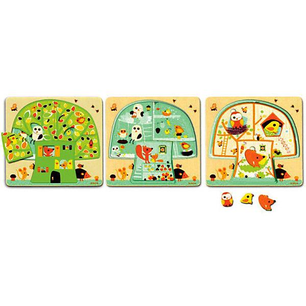 Трехслойный пазл Дом-дерево,  DJECO3D пазлы<br>Многослойные пазлы сейчас очень популярны! Ведь сочетают в себе и увлекательную игру и пользу пазла. Увлекательный и яркий трехслойный пазл Дом-дерево от DJECO (Джеко) откроет малышу дверь в увлекательный мир забавных зверушек. Пазл состоит из 3х слоев: первый слой - домик-дерево, второй слой - комнаты, третий - зверята. Двери своих комнат крохе откроют: мудрая сова, проворный мышонок, колючий еж и игривая бабочка.  Малышу будет очень интересно играя и складывая, изучать слой за слоем жизнь зверят в их доме. Покажите малышу, как сопоставлять цвета и формы и он с радостью будет собирать маленькую семью снова и снова. Пазл полностью выполнен из натурального дерева, все его детали гладкие и яркие, поэтому он очень хорошо подойдет начинающим любителям пазлов.  Игра развивает пространственное мышление, тренирует мелкую моторику. За веселой игрой у детей развивается воображение, они знакомятся с окружающим миром, его формами, размерами и цветами.<br><br>Дополнительная информация:<br><br>- Многослойный пазл из натурального дерева;<br>- Прекрасный тренажер для моторных навыков, логического мышления, внимания;<br>- Подходит для первого знакомства с пазлами;<br>- Три слоя;<br>- Яркие цвета, безопасные краски;<br>- Продается в коробочке удобной для хранения;<br>- Размер пазла: 26 х 26 х 2 см;<br>- Вес: 400 г<br><br>Трехслойный пазл Дом-дерево DJECO (Джеко) можно купить в нашем интернет-магазине.<br>Ширина мм: 260; Глубина мм: 260; Высота мм: 25; Вес г: 700; Возраст от месяцев: 24; Возраст до месяцев: 60; Пол: Унисекс; Возраст: Детский; SKU: 3778402;