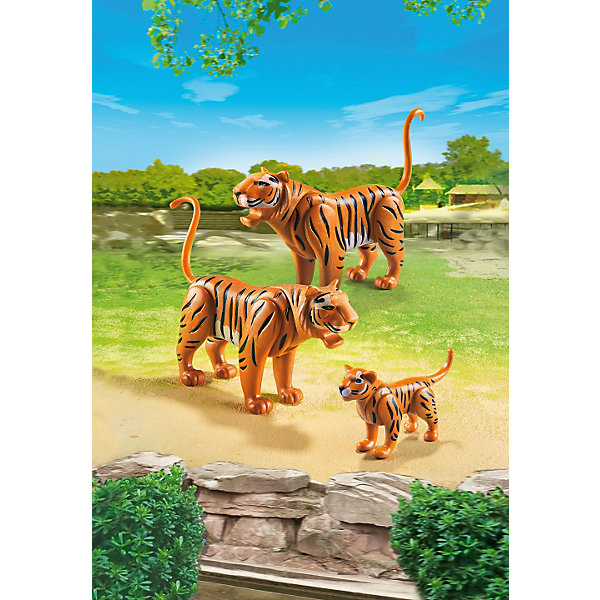 Зоопарк: Семья Тигров, PLAYMOBILПластмассовые конструкторы<br><br>Ширина мм: 241; Глубина мм: 162; Высота мм: 63; Вес г: 63; Возраст от месяцев: 48; Возраст до месяцев: 120; Пол: Унисекс; Возраст: Детский; SKU: 3786371;