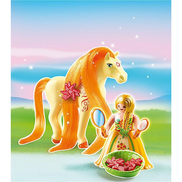 Принцессы: Принцесса Санни с Лошадкой, PLAYMOBILПластмассовые конструкторы<br>Принцессы: Принцесса Санни с Лошадкой, PLAYMOBIL (Плэймобил)<br><br>Характеристики:<br><br>• можно расчесать лошадку и сделать ей прическу<br>• голова лошади подвижна<br>• материал: пластик<br>• в комплекте: лошадка, девочка, расческа, зеркало, заколка, корзинка<br>• размер упаковки: 16,9х24,6х8 см<br>• вес: 110 грамм<br><br>С помощью набора от Плэймобил ребенок сможет помочь девочки расчесать роскошную гриву лошадки и даже украсить ее заколкой. В комплекте вы найдете всё необходимое для этого. Аксессуары хорошо помещаются в руки девочки, что значительно облегчает процесс игры. Пышное платье принцессы можно снять, чтобы она смогла оседлать лошадку. Детали изготовлены из прочного высококачественного пластика. Этот набор непременно понравится вашему ребенку!<br><br>Принцессы: Принцесса Санни с Лошадкой, PLAYMOBIL (Плэймобил) вы можете купить в нашем интернет-магазине.<br>Ширина мм: 239; Глубина мм: 167; Высота мм: 73; Вес г: 101; Возраст от месяцев: 60; Возраст до месяцев: 120; Пол: Женский; Возраст: Детский; SKU: 3786432;