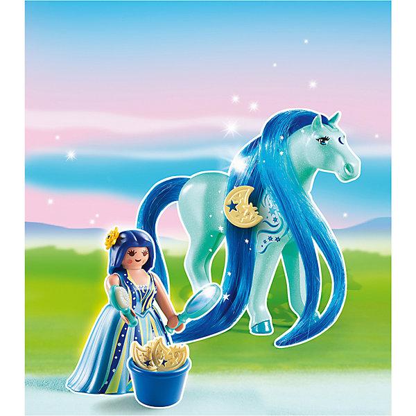 Принцессы: Принцесса Луна с Лошадкой, PLAYMOBILПластмассовые конструкторы<br>Принцессы: Принцесса Луна с Лошадкой, PLAYMOBIL (Плэймобил)<br><br>Характеристики:<br><br>• можно расчесать лошадку и сделать ей прическу<br>• голова лошади подвижна<br>• материал: пластик<br>• в комплекте: лошадка, девочка, расческа, зеркало, заколка, корзинка<br>• размер упаковки: 16,9х24,6х8 см<br>• вес: 110 грамм<br><br>С помощью набора от Плэймобил ребенок сможет помочь девочки расчесать роскошную гриву лошадки и даже украсить ее заколкой. В комплекте вы найдете всё необходимое для этого. Аксессуары хорошо помещаются в руки девочки, что значительно облегчает процесс игры. Пышное платье принцессы можно снять, чтобы она смогла оседлать лошадку. Детали изготовлены из прочного высококачественного пластика. Этот набор непременно понравится вашему ребенку!<br><br>Принцессы: Принцесса Луна с Лошадкой, PLAYMOBIL (Плэймобил) вы можете купить в нашем интернет-магазине.<br>Ширина мм: 240; Глубина мм: 165; Высота мм: 53; Вес г: 104; Возраст от месяцев: 60; Возраст до месяцев: 120; Пол: Женский; Возраст: Детский; SKU: 3786433;