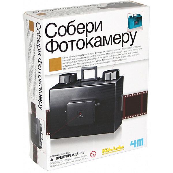 Собери фотокамеру, 4M 00-03249Робототехника и электроника<br>Характеристики товара:<br><br>• возраст: от 8 лет;<br>• материал: пластик, фольга;<br>• в комплекте: корпус камеры, детали камеры, алюминиевая фольга, клейкая лента;<br>• размер упаковки: 21х17х6 см;<br>• вес упаковки: 390 гр.;<br>• страна бренда: США.<br><br>Набор Собери фотокамеру представляет собой комплект для сборки интересного механизма для фотографирования без линз и цифровых матриц. Благодаря этому фотоаппарату можно делать хорошие снимки на фотопленке 135 мм. Для сборки изделия в наборе есть все необходимое, кроме иголки и пленки. Дети смогут своими руками собрать настоящий фотоаппарат и делать удивительные снимки. На обороте коробки они смогут обнаружить много интересных фактов о фотоаппаратах, расширяя свой кругозор и развивая творческие способности.<br><br>Собери фотокамеру, 4M можно купить в нашем интернет-магазине.<br>Ширина мм: 220; Глубина мм: 270; Высота мм: 60; Вес г: 400; Возраст от месяцев: 84; Возраст до месяцев: 132; Пол: Унисекс; Возраст: Детский; SKU: 3790335;