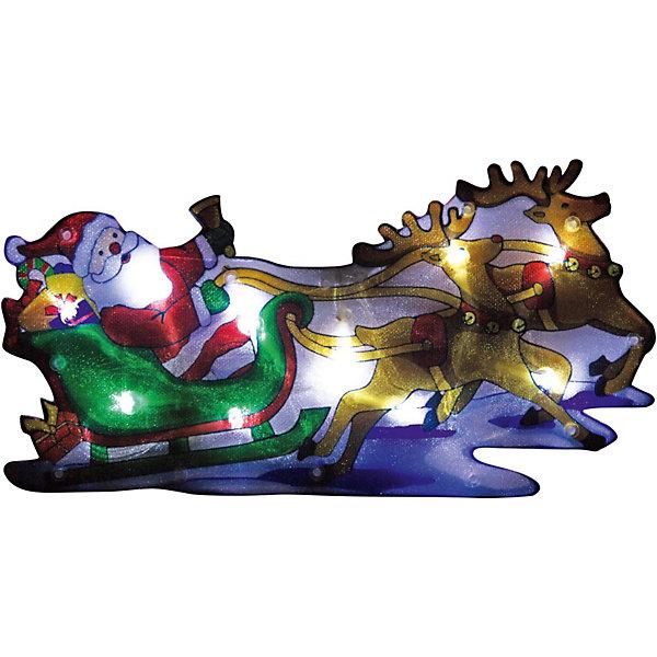 Волшебная Страна Световое панно «Дед мороз на упряжке» (20 ламп, 44,5х24 см), Волшебная страна цена