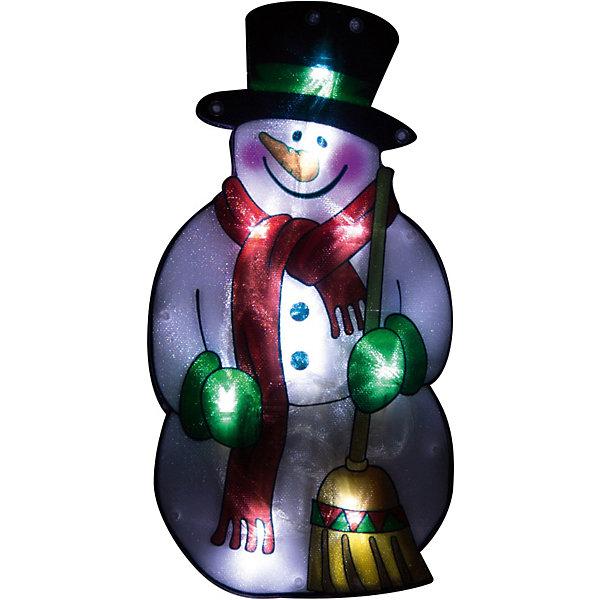 Световое панно «Снеговик в шарфе» (10 ламп, 25х13,5 см), Волшебная странаНовогодние световые фигуры<br>Световое панно «Снеговик в шарфе», Волшебная страна станет замечательным украшением Вашего интерьера и поможет создать волшебную атмосферу новогоднего праздника. Красочное светящееся панно с 10 LED огоньками выполнено в виде фигурки забавного снеговика. Панно оснащено присоской и прочно крепится к стене или другой поверхности. Только для применения в помещении.<br><br>Дополнительная информация:<br><br>- Материал: пластик, медь.<br>- Требуются батарейки: 3 х AAA.<br>- Размер панно: 25 х 13,5 см.<br>- Длина шнура: 20 см. (от коробки батареек до дисплея).<br><br>Световое панно «Снеговик в шарфе», Волшебная страна можно купить в нашем интернет-магазине.<br>Ширина мм: 520; Глубина мм: 30; Высота мм: 140; Вес г: 97; Возраст от месяцев: 36; Возраст до месяцев: 2147483647; Пол: Унисекс; Возраст: Детский; SKU: 3800248;