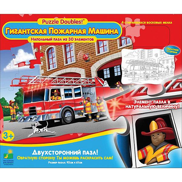 Пазл Гигантская Пожарная машина, 30 деталей, двухсторонний,  The Learning JourneyПазлы для малышей<br>Пазл Гигантская Пожарная машина, The Learning Journey увлекательный набор для творчества, который обязательно заинтересует Вашего ребенка. С помощью входящих в набор деталей он сможет собрать яркий красочный коврик с изображением пожарной машины. На обратной стороне пазла размещен рисунок, который надо раскрасить входящими в комплект карандашами. Детали пазлы выполнены из плотного качественно картона.<br><br>Дополнительная информация:<br><br>- В комплекте: пазл, 4 карандаша для раскрашивания обратной стороны пазла.<br>- Количество деталей: 30<br>- Материал: картон.<br>- Размер собранной картинки: 92 х 61 м.<br>- Размер упаковки: 30 х 8 х 25 см.<br>- Вес: 1,342 кг.<br><br>Пазл Гигантская Пожарная машина, The Learning Journey можно купить в нашем интернет-магазине.<br>Ширина мм: 299; Глубина мм: 75; Высота мм: 255; Вес г: 1342; Возраст от месяцев: 36; Возраст до месяцев: 72; Пол: Унисекс; Возраст: Детский; SKU: 3812985;