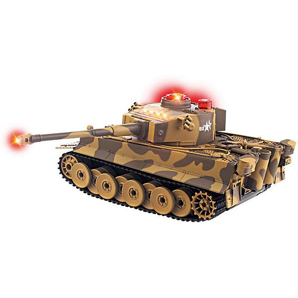 Танк на р/у, со звуком и светомВоенный транспорт<br>Танк на радиоуправлении станет порадует всех юных любителей военной техники. Игрушка является уменьшенной точной копией настоящего танка и выполнена в масштабе 1:32.<br>Танк управляется с помощью пульта радиоуправления, может двигаться вперед/назад, влево/вправо, разворачиваться на месте, поворачивать башню, приподнимать орудие, преодолевать небольшие препятствия.<br><br>Во время передвижения слышен звук движущейся машины, шум поворота пушки и звук выстрела. Имеются световые эффекты. Максимальная скорость: 10 км/ч., время игры: 20 мин. Питание осуществляется от аккумулятора Ni-Cd 9V (входит в комплекте поставки вместе с зарядным устройством)<br><br>Дополнительная информация:<br><br>- Требуются батарейки для пульта : 2 х ААА (не входят в комплект).<br>- Материал: пластик, элементы из металла, резина.<br>- Размер: 16 х 23 х 17 см.<br>- Вес: 1,474 кг.<br><br>Танк на радиоуправлении можно купить в нашем интернет-магазине.<br>Ширина мм: 160; Глубина мм: 230; Высота мм: 170; Вес г: 1808; Возраст от месяцев: 36; Возраст до месяцев: 168; Пол: Мужской; Возраст: Детский; SKU: 3813022;