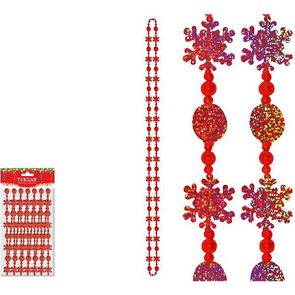 TUKZAR Бусы декоративные пластиковые со снежинками, 2,7 м бусы из агата и хрусталя черника со сливками