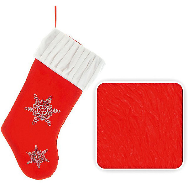Носок для подарков, 50 см, красный цветНовогодние носки<br>Носок для подарков. В такой носок обязательно положат подарок, а может, и не один. Прекрасный новогодний аксессуар. Прекрасно подойдет для оформления витрин и помещений. <br><br>Дополнительная информация:<br><br>- Материал: текстиль<br>- Размер: 50 см<br>- Цвет: красный, белый<br>- Вышивка- снежинка.<br><br>Носок для подарков можно купить в нашем магазине.<br>Ширина мм: 110; Глубина мм: 100; Высота мм: 100; Вес г: 110; Возраст от месяцев: 36; Возраст до месяцев: 216; Пол: Унисекс; Возраст: Детский; SKU: 3822115;