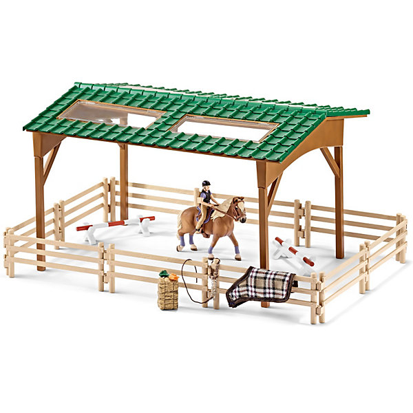 Набор Для верховой езды, SchleichИгровые наборы с фигурками<br>Набор Для верховой езды, Schleich (Шляйх) станет прекрасным подарком для всех юных любителей грациозных животных и отличным дополнением к другим игровым наборам данной серии Шляйх. Теперь Вы сможете ежедневно готовить свою лошадку к соревнованиям по конкуру.<br>Большая арена состоит из ограждения и навеса с крышей и прозрачными открывающимися окошками. В комплект также входят различные игровые аксессуары, которые легко крепятся на перила загона, фигурка наездницы, препятствия и корм для лошадки. Все детали изготовлены из качественного каучукового пластика, который безопасен для детей, приятны на ощупь, раскрашены вручную и имеют оригинальную текстуру, повторяющую образ реальных предметов.<br><br>Дополнительная информация:<br><br>- В комплекте: детали для сборки арены для конкура, препятствия для соревнований, лошадка с наездницей, корм, аксессуары.<br>- Материал: каучуковый пластик.<br>- Размер упаковки: 39,5 x 31,5 x 11 см. <br>- Вес: 1 кг.<br><br>Набор Для верховой езды, Schleich (Шляйх) можно купить в нашем интернет-магазине.<br>Ширина мм: 403; Глубина мм: 317; Высота мм: 114; Вес г: 1257; Возраст от месяцев: 36; Возраст до месяцев: 96; Пол: Женский; Возраст: Детский; SKU: 3829725;
