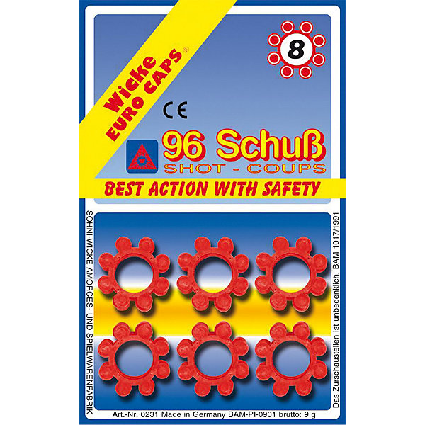 8-зарядные пистоны, 96 шт,  Sohni-WickeИгрушечные пистолеты и бластеры<br>8-зарядные пистоны, 96 шт,  Sohni-Wicke (Сони-Вике) – это набор пластиковых пистонов, рассчитанных на 96 выстрелов.<br>Стартовый набор 8-зарядных пистонов. Подходит для детского оружия соответствующей ёмкости магазина: винтовки Arizona и Rapid Fire, пистолеты Schrodel, Jerry, Jerry АГЕНТ, Mega Gun АГЕНТ, Olly, Powerman, Ringo, Ringo АГЕНТ и Texas Rapido. Сони-Вике (Sohni-Wicke) - один из основных производителей пистонных пистолетов и винтовок, а также пистонов для игрушечного оружия в Европе. Пистоны и пистолеты компании прошли все испытания в соответствии с европейскими стандартами качества. Используйте пистоны на достаточном расстоянии от лица и ушей. Стрельба из пистонных пистолетов на близком расстоянии к ушам может привести к повреждению слуха. Не стреляйте в помещении.<br><br>Дополнительная информация:<br><br>- В комплекте: 12 обойм пистонов (по 8 зарядов)<br>- Материал: пластик<br>- Упаковка: блистер<br>- Размер упаковки: 150х94х90 мм.<br>- Рекомендуемый возраст: от 8 лет<br>- Внимание: мелкие детали! Игрушка не подходит для детей младше 3 лет<br>- До использования игрушки обязательно ознакомьтесь с мерами безопасности и рекомендациями во время игры<br><br>8-зарядные пистоны, 96 шт,  Sohni-Wicke (Сони-Вике) можно купить в нашем интернет-магазине.<br>Ширина мм: 150; Глубина мм: 94; Высота мм: 90; Вес г: 100; Возраст от месяцев: 96; Возраст до месяцев: 168; Пол: Мужской; Возраст: Детский; SKU: 3838996;