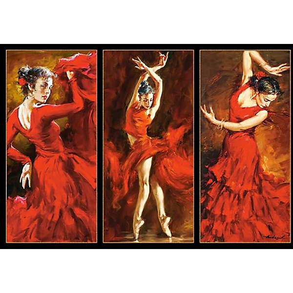 Пазл Танцы, 1000 деталей, CastorlandПазлы классические<br>Пазл «Танцы» - яркий и зажигательный триптих на тему фламенко. Насыщенная цветовая гамма выражает бурю эмоций в каждом движении танцовщицы. Картина состоит из 1000 элементов, каждый из которых выполнен  из плотного картона, благодаря чему работать с ними легко и просто. Готовая картина станет оригинальным украшением квартиры и поразит Ваших гостей своим великолепием и качественным исполнением.<br><br>Дополнительная информация:<br><br>- Уникальное качество деталей;<br>- Развивает: воображение, логику, мелкую моторику, память;<br>- Чудесное украшение интерьера;<br>- Прекрасная полиграфия;<br>- Размеры: 24,9 x 34,8 x 5,1 см;<br>- Размер готовой картинки: 68 х 47 см;<br>- Вес: 0,5 кг.<br><br>Пазл « Танцы», 1000 деталей, Castorland (Касторленд)  можно купить в нашем интернет-магазине.<br>Ширина мм: 350; Глубина мм: 50; Высота мм: 250; Вес г: 500; Возраст от месяцев: 168; Возраст до месяцев: 1188; Пол: Унисекс; Возраст: Детский; Количество деталей: 1000; SKU: 3849114;