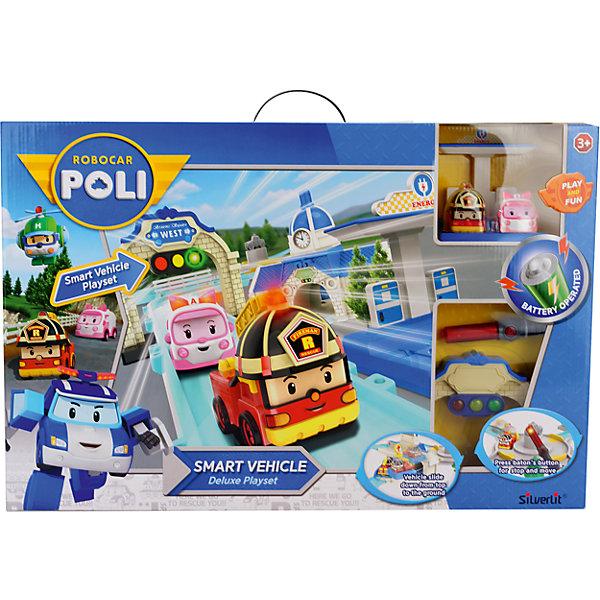 Silverlit Игровой набор Мега трек с двумя умными машинами, Робокар Поли набор игровой для мальчика poli средний трек с умной машинкой