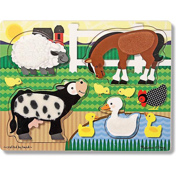 Melissa & Doug Рамка-вкладыш Ферма 4 детали, Melissa & Doug мягкие игрушки melissa