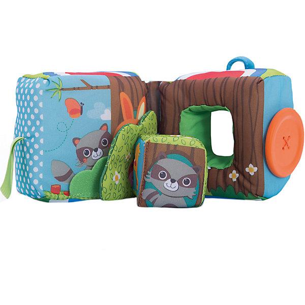 Развивающая книжка-куб, Tiny LoveРазвивающие игрушки<br>Развивающая книжка-куб, Tiny Love (Тини Лав) - красочная привлекательная игрушка, которая надолго займет внимание Вашего малыша. Игрушка представляет собой мягкую книжку сложенную в куб, если расстегнуть пуговичку, куб разделится на две половинки. Внутри большого куба вкладывается маленький куб на веревочке, на котором изображены забавные зверюшки - енот и зайчик, божья коровка и гусеница, маленький птенчик и бабочки. В каждой из половинок малыша ждут приятные сюрпризы - шуршащий элемент, погремушка, безопасное зеркальце, маленький кубик, пуговица-прорезыватель. Игрушка очень удобна для маленьких ручек ребенка, он будет с интересом держать ее в руках, раскладывать и складывать. <br><br>Игрушка  выполнена из различных материалов, что поможет развить тактильную чувствительность у ребенка. Яркие цвета и различные игровые элементы стимулируют самостоятельное обучение и исследование, знакомят малыша с формами и цветами, способствуют развитию внимания, памяти и воображения. Куб изготовлен из экологических безопасных материалов и красителей.<br><br>Дополнительная информация:<br><br>- Материал: текстиль, пластик.<br>- Размер игрушки: 10 х 10 см. <br>- Вес: 0,4 кг.<br><br>Развивающую книжку-куб, Tiny Love (Тини Лав) можно купить в нашем интернет-магазине.<br>Ширина мм: 174; Глубина мм: 138; Высота мм: 243; Вес г: 344; Возраст от месяцев: 0; Возраст до месяцев: 12; Пол: Унисекс; Возраст: Детский; SKU: 3867805;