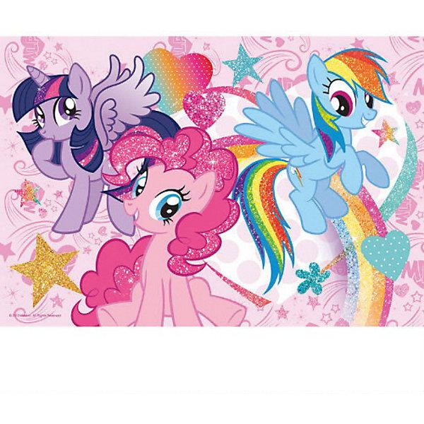 Пазл  Мои маленькие пони, 50 деталей, My little PonyПазлы для малышей<br>Пазл Мои маленькие пони от Trefl  - увлекательный набор для творчества, который будет отличным подарком для Вашей девочки. С помощью входящих в набор деталей она сможет собрать красочную картинку с любимыми многими девочками лошадками из мультфильма Моя маленькая пони (My Little Pony). Отдельные элементы покрыты блестками, поэтому если повесить изображение на стену в комнате, то оно станет прекрасным украшением интерьера.<br><br>Пазл отличается высоким качеством полиграфии и насыщенными цветами, детали прекрасно скрепляются между собой. Набор упакован в нарядную стильную сумочку из картона на липучках. Собирание пазла способствует развитию логического мышления, внимания, мелкой моторики и координации движений.<br> <br>Дополнительная информация:<br><br>- Материал: картон. <br>- Размер собранной картинки: 41 х 27,8 см.<br>- Размер упаковки: 27,5 х 19,5 х 6,5 см.<br>- Вес: 0,266 кг.<br><br>Пазл Мои маленькие пони, Trefl можно купить в нашем интернет-магазине.<br>Ширина мм: 195; Глубина мм: 275; Высота мм: 65; Вес г: 266; Возраст от месяцев: 60; Возраст до месяцев: 96; Пол: Женский; Возраст: Детский; Количество деталей: 50; SKU: 3879945;