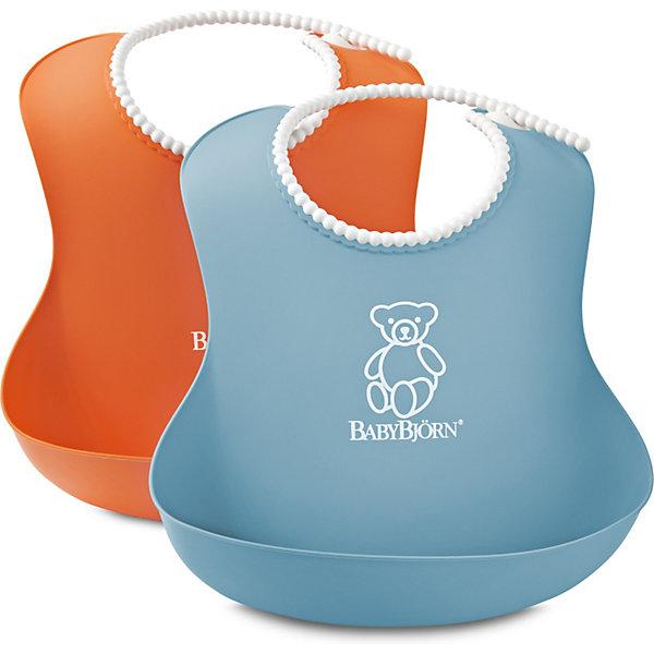 BabyBjorn Комплект из 2-х нагрудников, BabyBjorn, оранжевый/голубой нагрудники бусинка на липучке с карманом